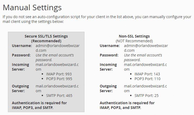Email Manual Settings